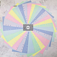 Pastel Rainbow - All Sizes PRINTED AND PUNCHED Filofax Paper Insert, Thick Sheets for Ring Binder - 30 Pages