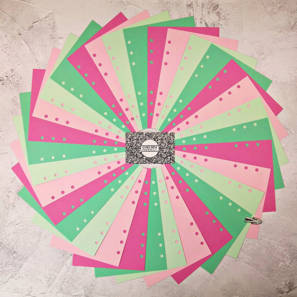 Watermelon - All Sizes PRINTED AND PUNCHED Filofax Paper Insert, Thick Sheets for Ring Binder - 32 Sheets