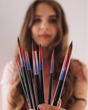 PRE-ORDER Full Set 7pcs - Luxury Synthetic Kolinsky Sable Hair Watercolour Paintbrushes // Size 00, 01, 03, 05, 07, 09, 11