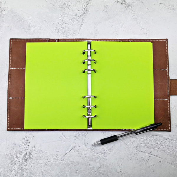 Bright Green All Sizes, Plain or Dot Grid, PRINTED AND PUNCHED Filofax Paper Insert - 30 Pages