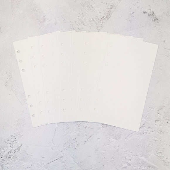 Watercolour Paper 220gsm All Sizes PRINTED AND PUNCHED B6 Personal Filofax Luxury Paper Insert, Thick Sheets for Ring Binder and Kikki K - 15 Pages