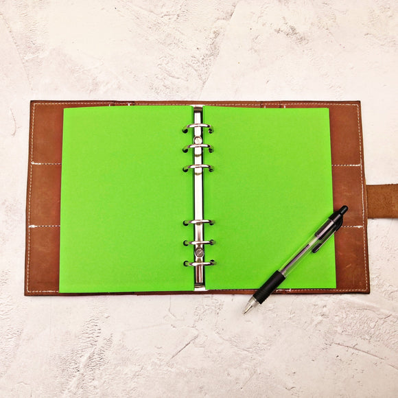 Dark Green All Sizes, Plain, Dot or Grid, PRINTED AND PUNCHED Filofax Paper Insert - 30 Sheets