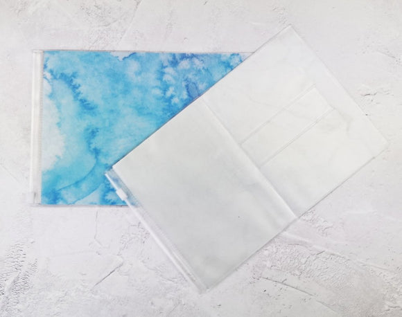 Blue Watercolour Wallet Insert for Traveler's Notebook - B6 and A6 - C012