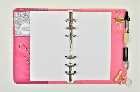 Square Grid All Sizes PRINTED AND PUNCHED Filofax Luxury Paper Insert, Thick Sheets for Ring Binder inc Malden and Kikki K - 30 Pages