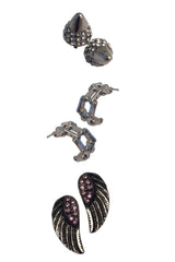 Set #3: Clear Crystal Black Nickel Bullets, Chrome Bike Chain, Hot Pink Crystal Black Wing Studs