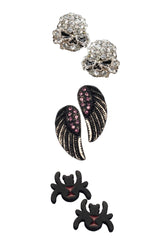 Set #2:  Lt. Grey Skulls , Wings, Black Widow Studs