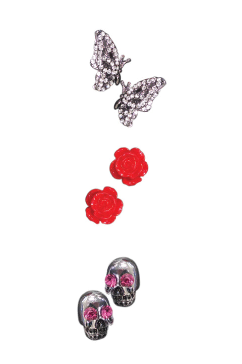 Set #4: Clear Crystal Chrome Butterfly, Red Acrylic Rose Studs, Chrome Skulls