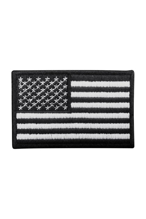 American Flag Black & White Patch