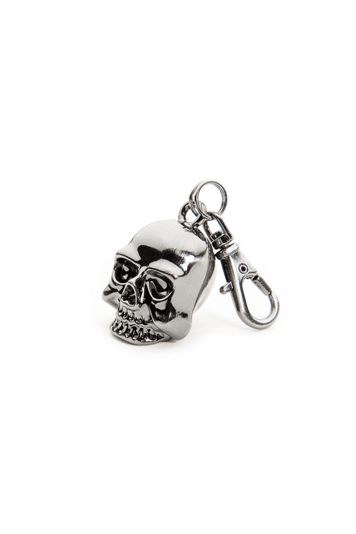 - Jacket Zipper Pull - Chrome Skull Head Zipper Pull - 1