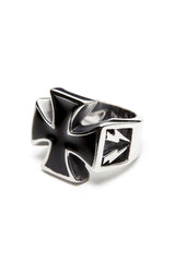- Stainless Steel Ring - Iron Cross with Bolts Ring - 1