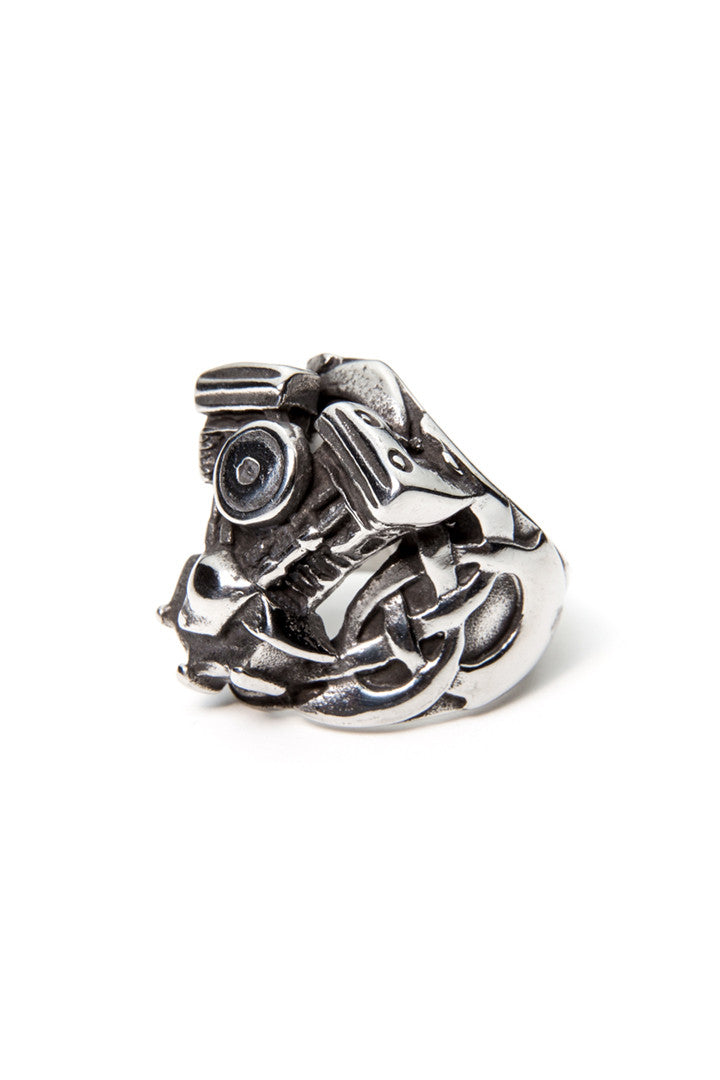 - Stainless Steel Ring - Raised Celtic V-Twin Engine Ring - 1