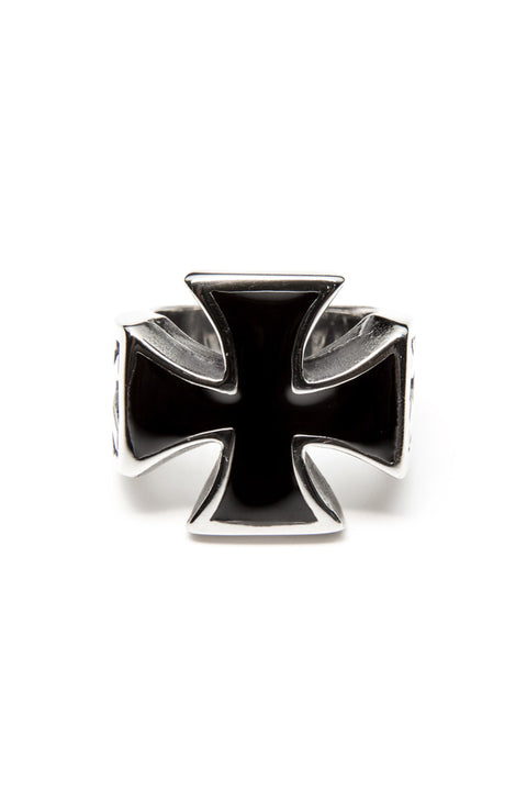 - Stainless Steel Ring - Iron Cross with Bolts Ring - 2