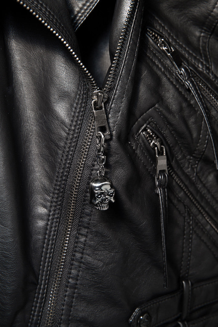- Jacket Zipper Pull - Chrome Skull Head Zipper Pull - 2