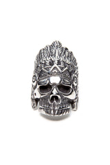 - Stainless Steel Ring - Skull Feathers Ring - 2