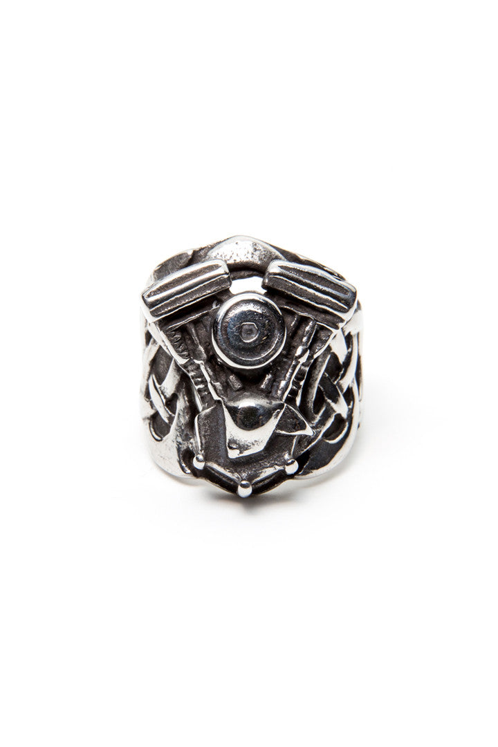 - Stainless Steel Ring - Raised Celtic V-Twin Engine Ring - 2