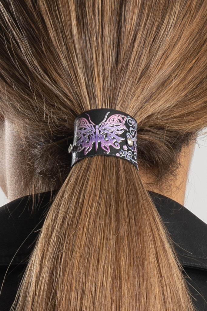 "1.25"" Set Purple Butterfly & Bling Suede Hair Glove®"