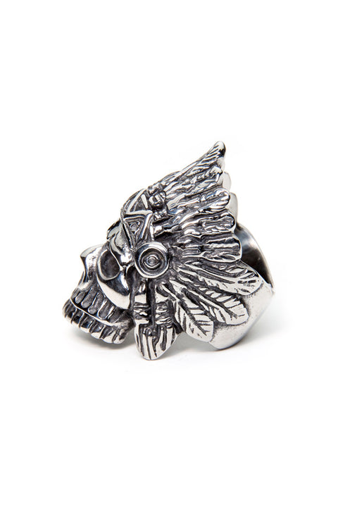- Stainless Steel Ring - Skull Feathers Ring - 4