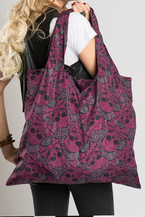 Pink & Black Skull Paisley Recycle Bag