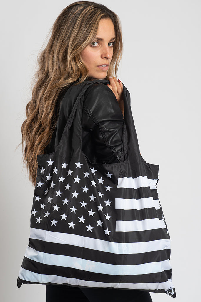 Black & White American Flag Recycle Bag