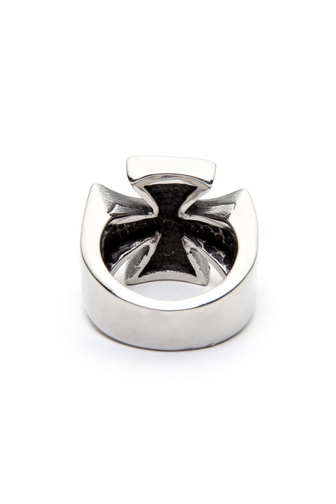 - Stainless Steel Ring - Iron Cross with Bolts Ring - 5