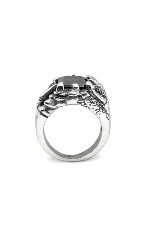 - Stainless Steel Ring - Black Zircon Ring - 4