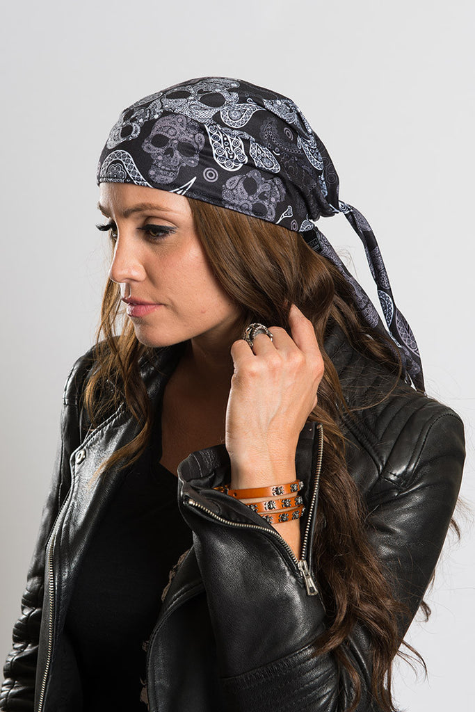 Skull Paisley Full-Head Wrap