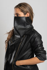 3-Piece Leather Triangle Mask Black