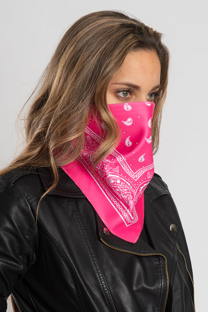 Hot Pink Bandana w/Gems Triangle Mask