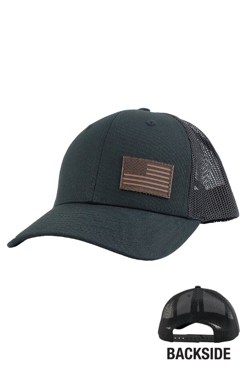 Brown Leather American Flag  1.77  X 1.12 (Trucker)