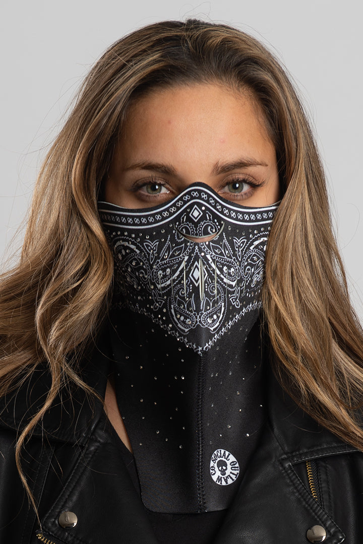 Black Paisley w/Gems Half Mask