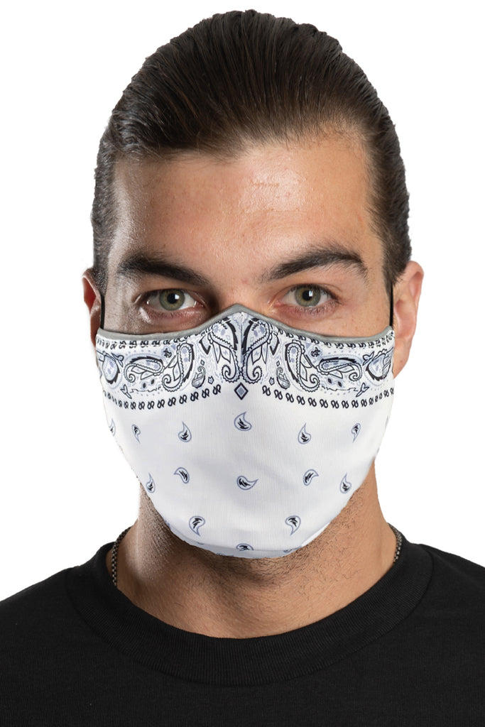 White Paisley Face Mask Set