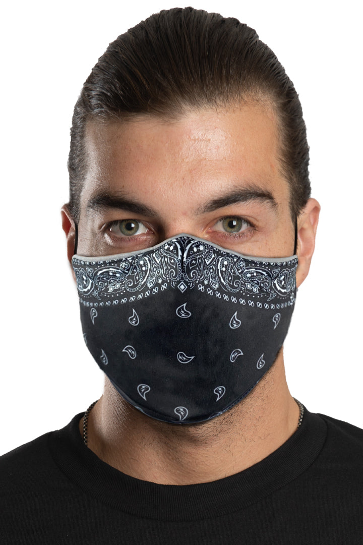 Black Bandana Face Mask Set