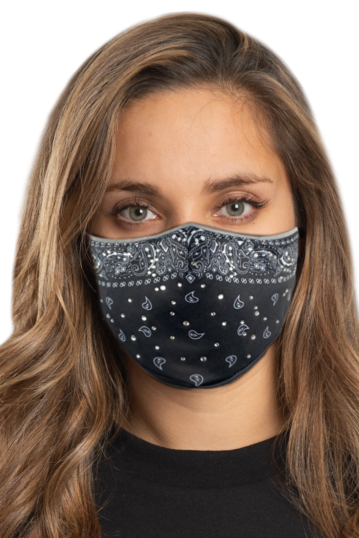 Black Paisley w/Gems Face Mask Set