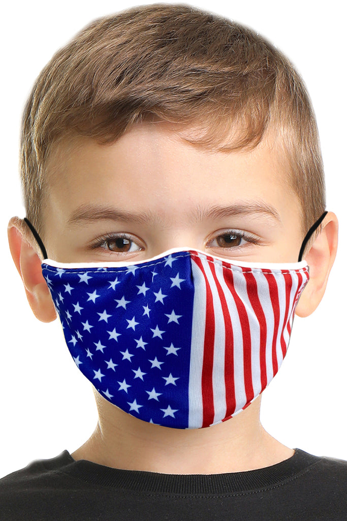 R.W.B USA Flag Kids Face Mask Set