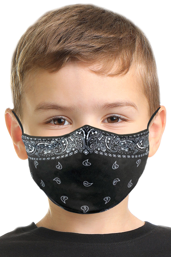 Black Bandana Kids Face Mask Set