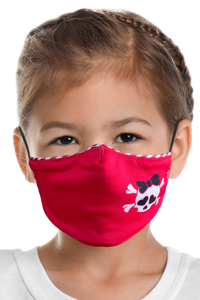 Pink Skull w/Bow Kids Face Mask Set