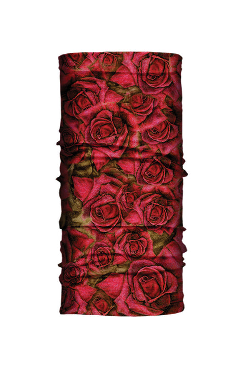 - Multi-Functional Headwear - Red Roses EZ Tube - 1