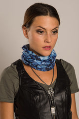 Blue - Multi-Functional Headwear - Blue Skulls EZ Tube - 2