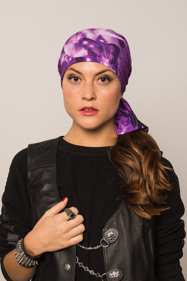 - Multi-Functional Headwear - Purple Butterflies EZ Tube - 2