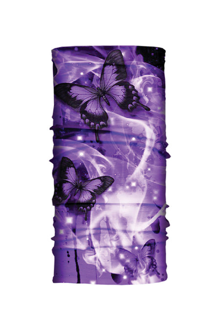 - Multi-Functional Headwear - Purple Butterflies EZ Tube - 1