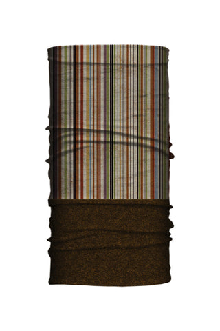 - Multi-Functional Headwear - Earthy Stripes Brown Fleece-Neck Tube