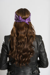 "Purple Paisley w/Hidden Angel Wings 22"" Bandana"