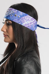 Purple Paisley w/High Frequency Gems Pre-Sewn Bandana Headband