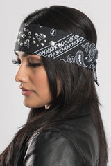 Black Paisley w/High Frequency Gems Pre-Sewn Bandana Headband