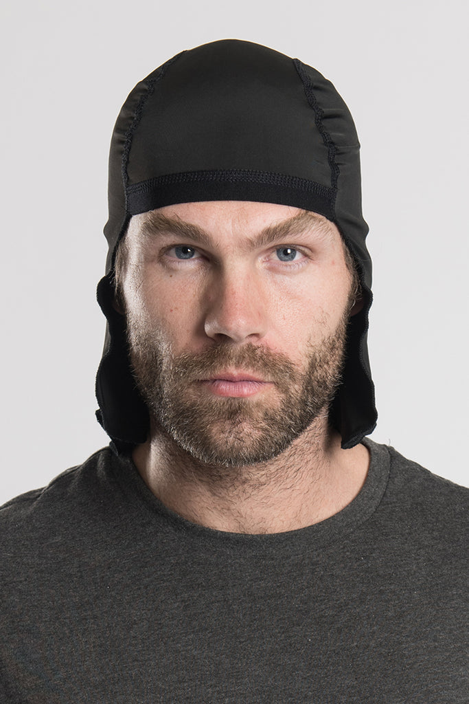 Solid Black w/Tails Skull Cap Winter Weight