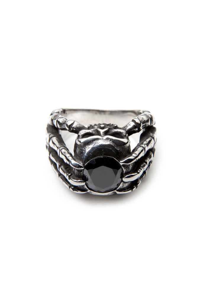 Black Zircon Skull Claws Ring