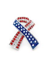 Red White & Blue Ribbon w/Gems Pin