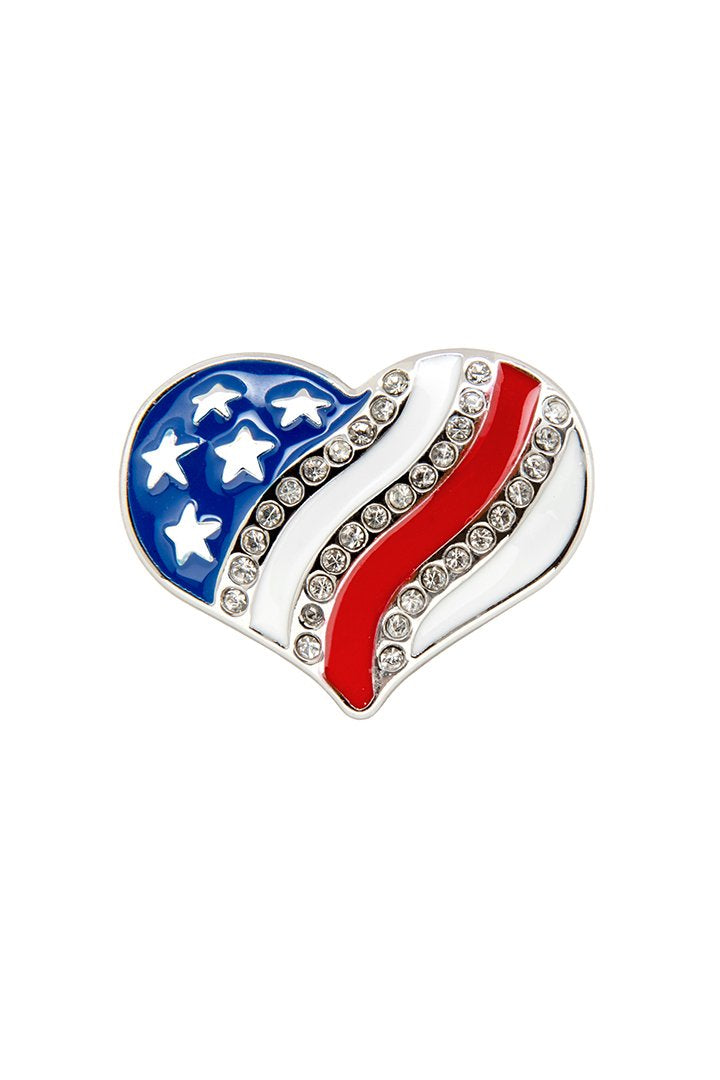Red White & Blue Heart w/Gems Pin