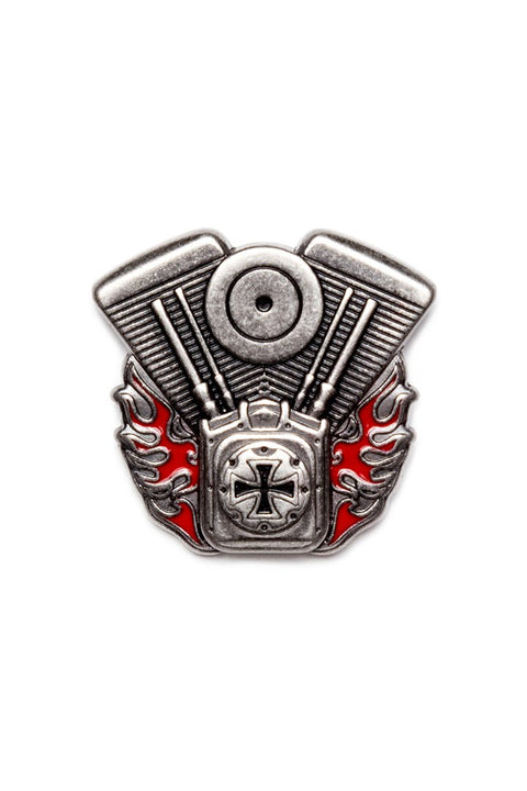 V-Twin Engine w/Iron Cross & Flames Pin