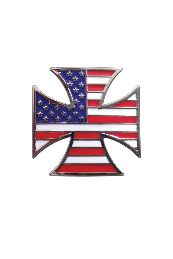 Biker Cross USA Flag Pin